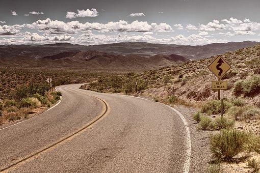 Road, Desert, Landscape, Travel, Sky, Clouds, Asphalt