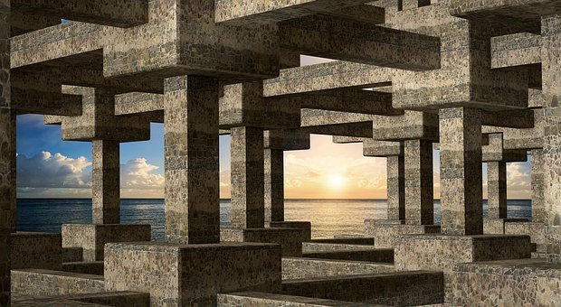 Columnar, Grid, Sunset, Sea, Abstract, 3d Space