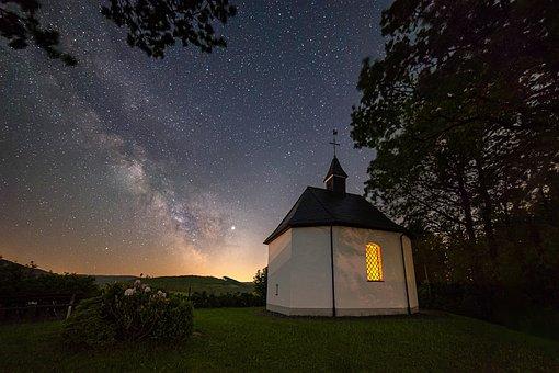 Night, Star, Chapel, Church, Starry Sky, Milky Way