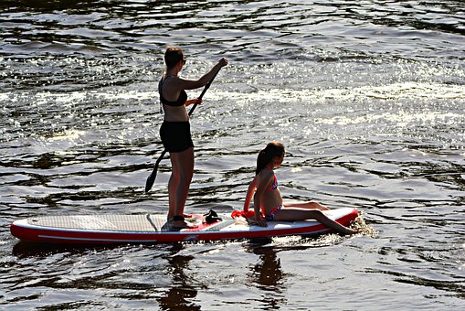 Woman, People, Supping, Paddle, Supping Board, Water