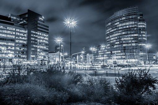 Office Buildings, City, Night, Warsaw, Bichromia