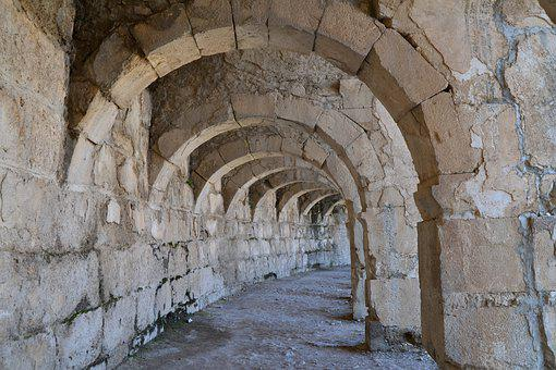 Turkey, Aspendos, Roman Theatre, Zenon, Old