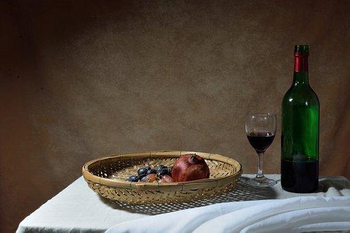 Table, Foods, Fruits, Wine, Glass, Bottle, Still Life