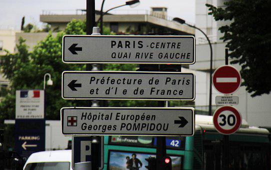 Paris, Road, Sign, City, France, Urban, Street