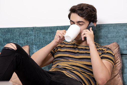 Boy, Coffee, Cute, Mobile, Man, Happy, Smartphone