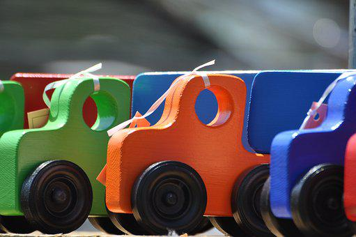 Toys, Wooden Trucks, Colorful, Craft, Bright, Sandbox