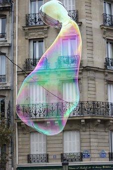 Building, Bubble, Paris, France, Rainbow, Water