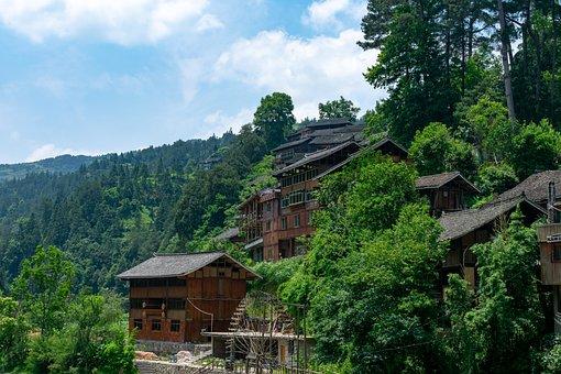 Building, Houses, Miao, Landes, Landes Miao Village
