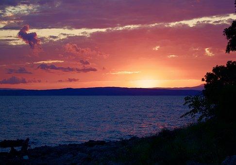 Sunset, Sea, Horizon, Romantic, Landscape, Nature