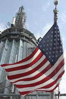 Empire State Building, America, New York, Flag