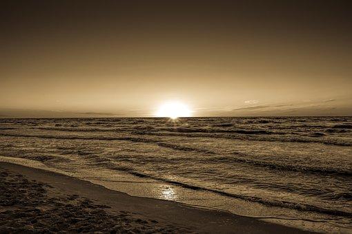 Sunset, Sea, Beach, Holidays, The Waves, Ocean