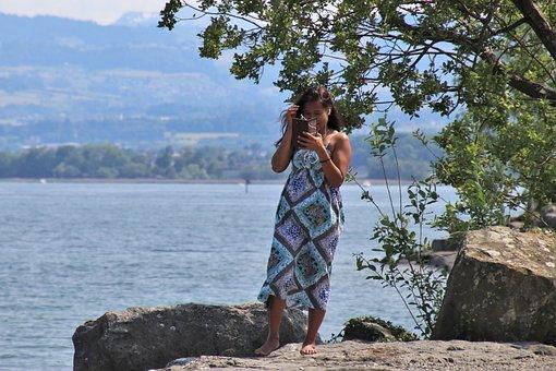 Happy, Smartphone, Dress, Water, Wind, Beach, Phone