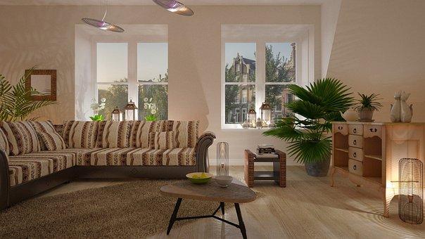 Sofa, Desk, Furniture, The Interior Of The, Lamp
