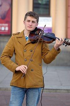 Boy, Man, Young, Street, Urban, City, Singing, Violin
