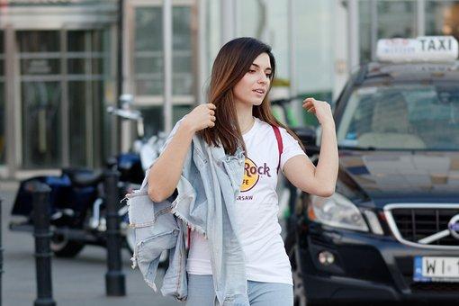 Girl, Young, Woman, Hair, Long, T-shirt, Storage