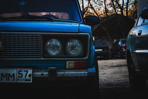 Six, Russian Car, Parking, Student Car, Evening, Blue