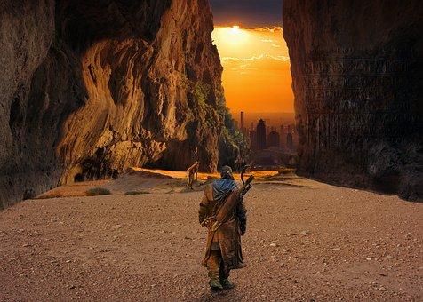 Cave, Light, Sun, Man, Dog, Hunter, City, Mountain