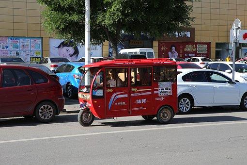 Mini Bus, Tricycle, Beijing, China, City, Traffic