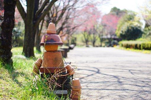 Doll, Center, First, Boy, Park, Flower Pots, Road