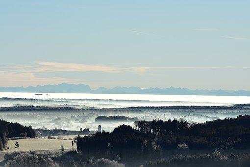 Alpen, Ice, Fog, Landscape, Nature, Sky, Mist, Wintry