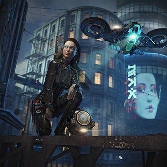 High Tech, Sci Fi, Science Fiction, Fantasy, Girl, Sexy