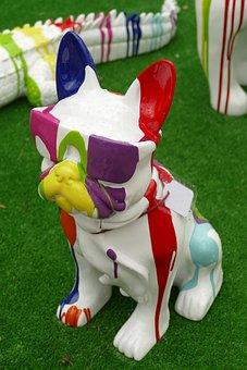 Dog, Glasses, Image, Statue, Ceramics, Colorful