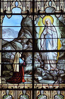 Stained Glass, Colorful, Light, Virgin, Mary