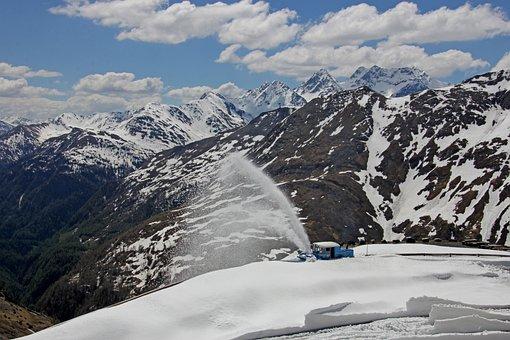 Snow Thrower, Snow, Mountains, Background, Alpine