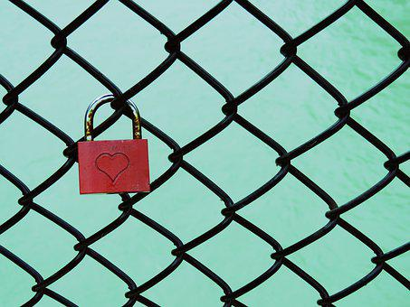 Padlock, Chainlink, Fence, Heart, Cage, River, Lock