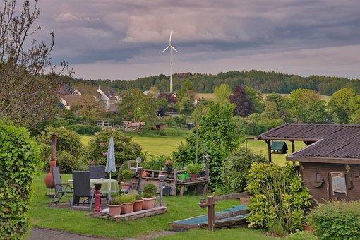 Garden, Wind Power, Landscape, Pinwheel, Nature, Clouds