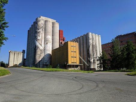 Finland, Mural, Silo, Graffiti, Mill, Finnish