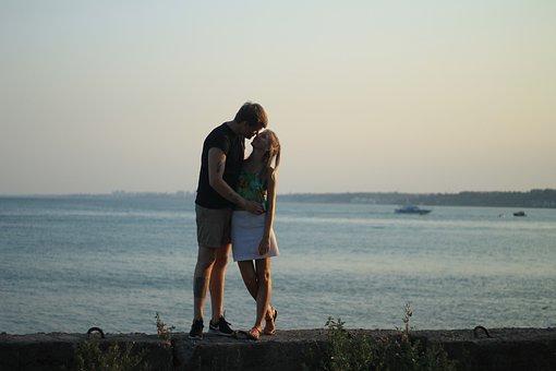 Love, Sea, Happy, Together, Sand, Kissing, Sky, Seaside