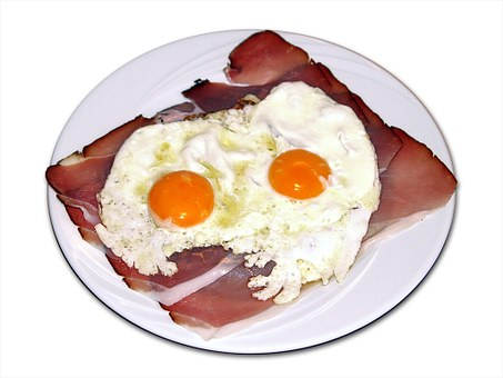 Fried Eggs, Egg, Yolk, Bacon, Food, Eat, Edible, Plate