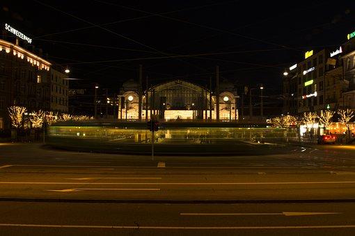 Basel, Railway Station, Tram, Rails, Road, Traffic