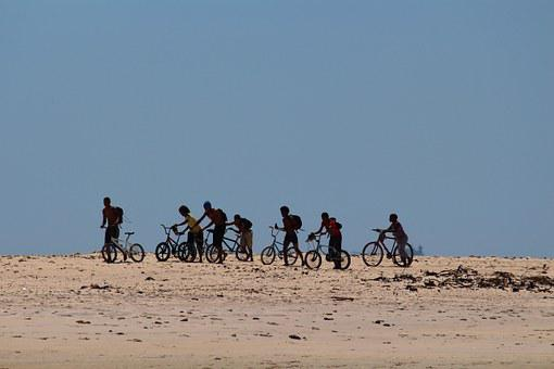 Children, South Africa, Bicycles, Beach, Sea, Group