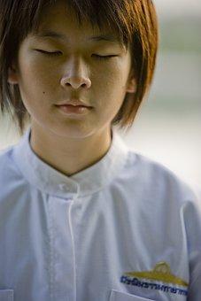 Girl, School Girl, Buddhist, Meditate, Thailand, Asia
