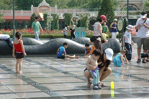 Everland, Fountain, Children, Summer, Water, Wer, Joke