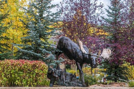 Vail, Colorado, Statue, Moose, Foliage, Trees