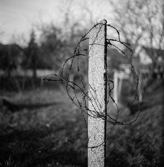 Barbed Wire, Concrete, Black And White