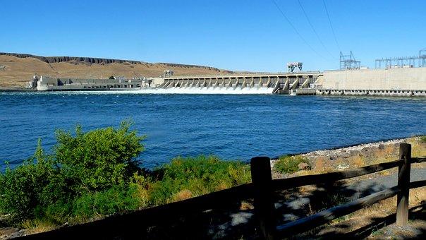 Mcnary Oregon, Blue Water, Blue Sky, Dam, Water, Lake