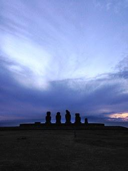 Easter Island, Moai, Morning, Stone Statues, Silhouette