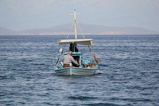 Boat, Fisherman, Fishing, Aegean, Mediterranean, Greece