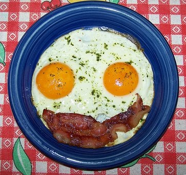 Fried, Bacon, Egg, Smilie, Yolk, Meal, Breakfast