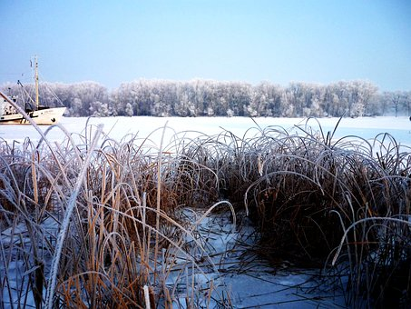 River, In Winter, The Islet, Blue, Sky, Bright, Volga