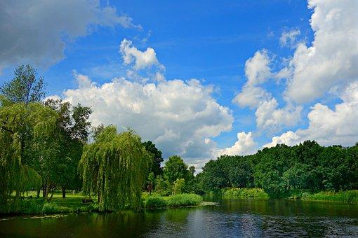 Lake, Park, Landscape, Scenic, Naarden Vesting, Sky