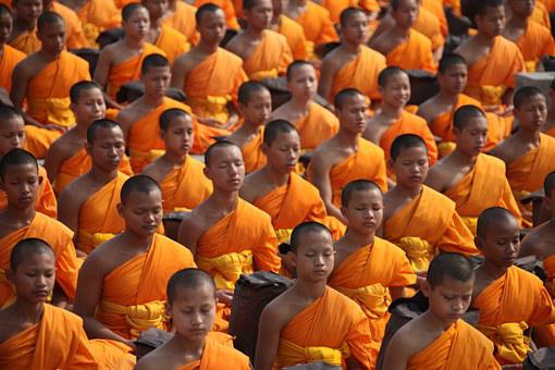 Thailand, Buddhists, Monks, And, Novices, Meditate