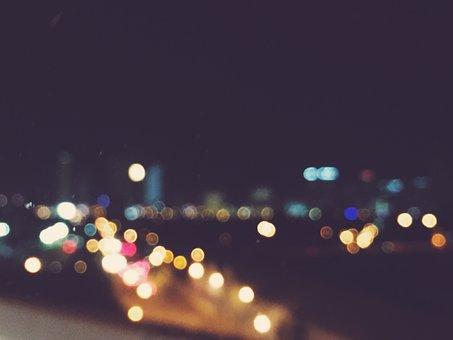 Night, Lights, Blurry, Dark, City, Lilac City