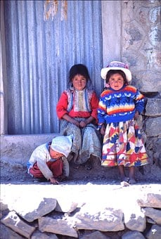 Peru, Children, Colorful, Folk Costumes, Portrait