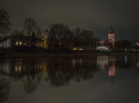 Turku, Cathedral, Church, River, Aura River, Night