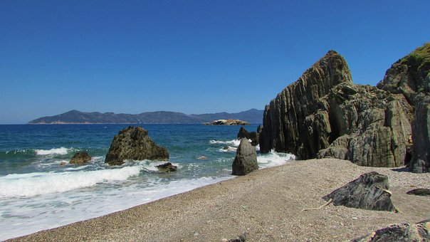 Greece, Skiathos, Rocks, Pebble Beach, Sea, Island